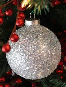 white silver glitter christmas tree ornaments two