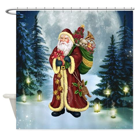 santa shower curtains santa claus in the forest shower curtain by gatterwe