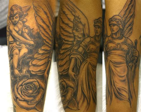 rose and angel sleeve tattoo and sleeve