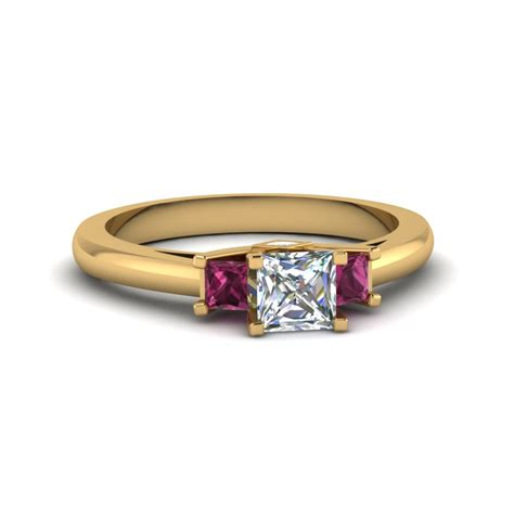 3 engagement ring princess cut accent with