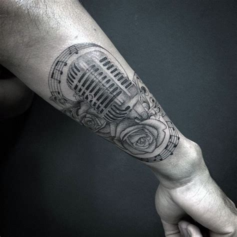 microphone tattoo on wrist 3d like very realistic microphone with flower tattoo on