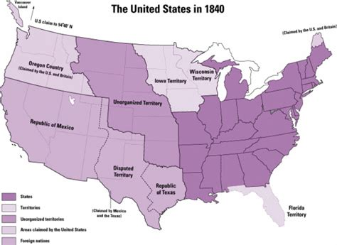 map of the united states in 1840 american history lecture four conservapedia