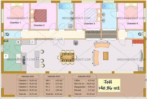 plan maison moderne 4 chambres tarif maison bois moderne 4 chambres au m2