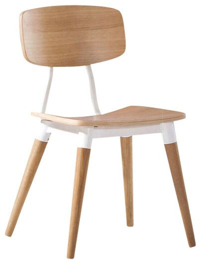 Modern Oak Dining Chairs Ito Dining Chair White Oak Veneer With White Base Modern Dining Chairs By Inmod