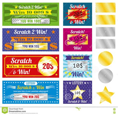Dream About Winning Money On A Scratch Ticket - lottery tickets of scratch and win with effect from marks vector set stock vector