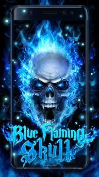 blue fire skull  wallpaper  android apk