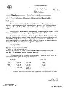 doj document production cover letter re treatment of