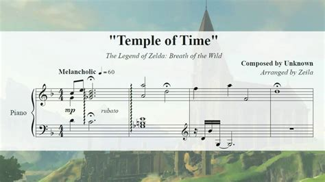 temple of the songs tloz breath of the temple of time piano sheet