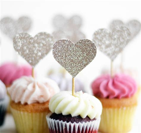 Handmade Cupcake Toppers - handmade glitter lovehearts cupcake toppers by may contain
