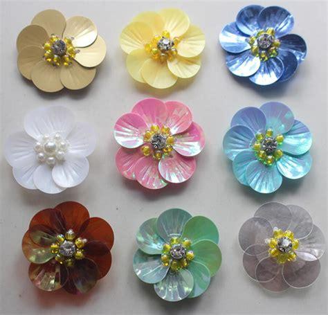 50 pcs shell payet berlian imitasi mutiara manik manik bunga appliqued patch untuk pakaian
