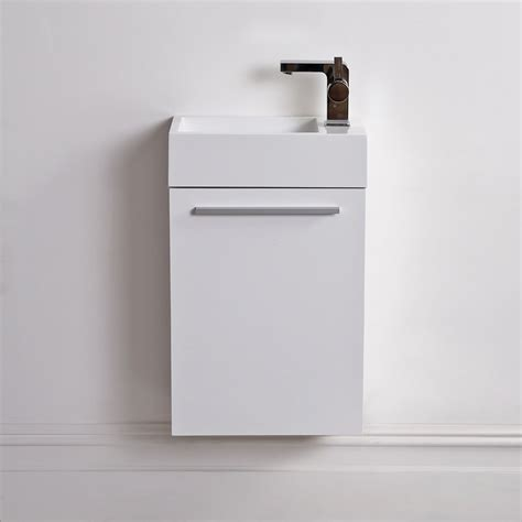 Vanity Units For Cloakrooms by Lusso Quartet Mini Wall Mounted Cloakroom Vanity Unit White 400 Vanity Units
