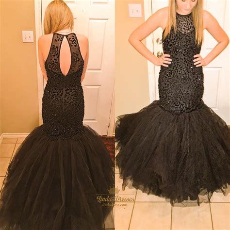 tulle dropped waist prom dress with beaded bodice style black sleeveless beaded bodice drop waist tulle mermaid