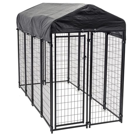 puppy kennels shop 8 ft x 4 ft x 6 ft outdoor kennel box kit at lowes
