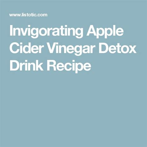 Caroline S Apple Cider Vinegar Detox Drink Recipe Reviews by M 225 S De 25 Ideas Incre 237 Bles Sobre Heath Food En