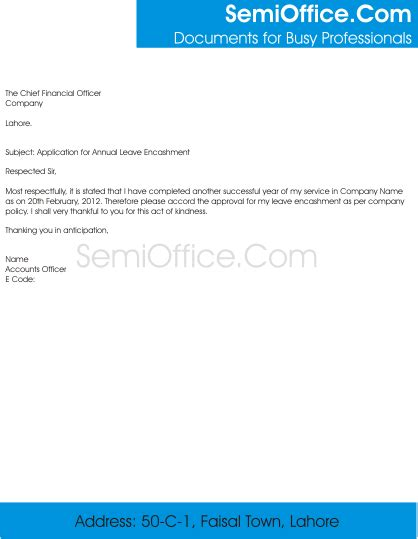Annual Leave Payment Request Letter application for annual leave encashment