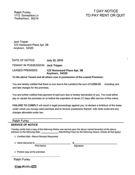 Rent Pending Letter Kentucky 7 Day Notice To Pay Rent Or Quit Ez Landlord Forms