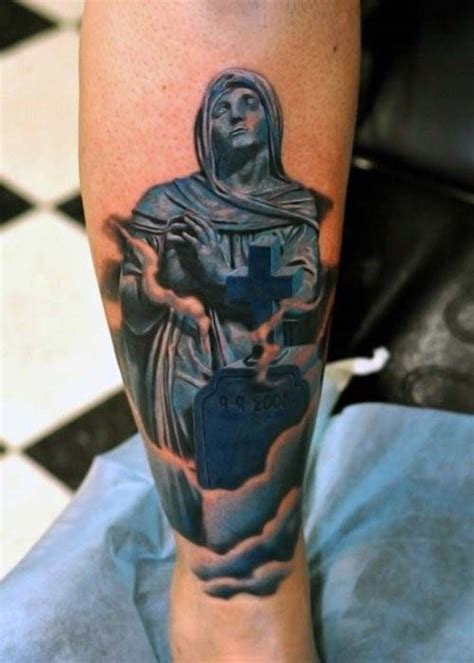 tombstone cross tattoos 50 tombstone tattoos for memorial designs