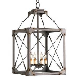 lantern pendant light fixture salvage metal box industrial loft lantern 4 light pendant