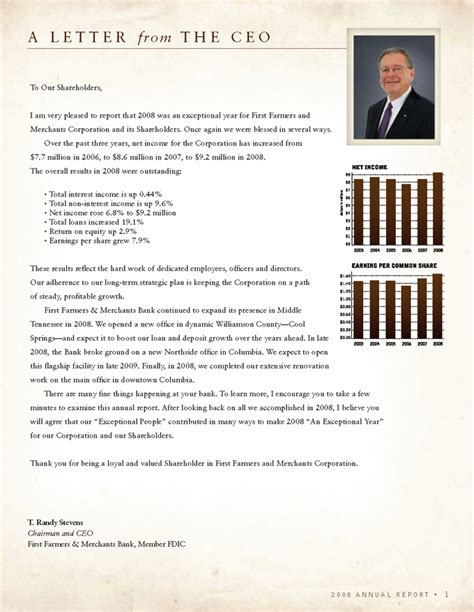 Annual Report Letter From Ceo Exceptional An Exceptional Year Farmers Merchants Bank Member Fdic 2008 Annual