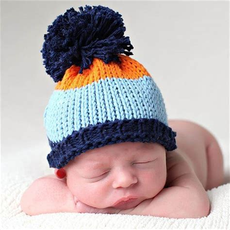 baby knitted hats boy knit hat blue