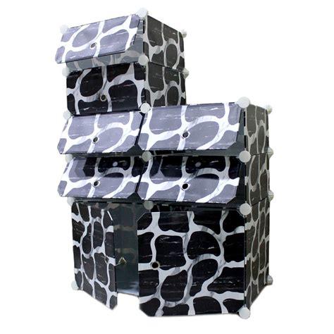 Hitam Putih Rak Buku rak lemari hitam putih 10 2 10 pintu elevenia