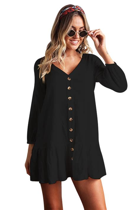 Sleeved Black fashion sleeved button black casual dress