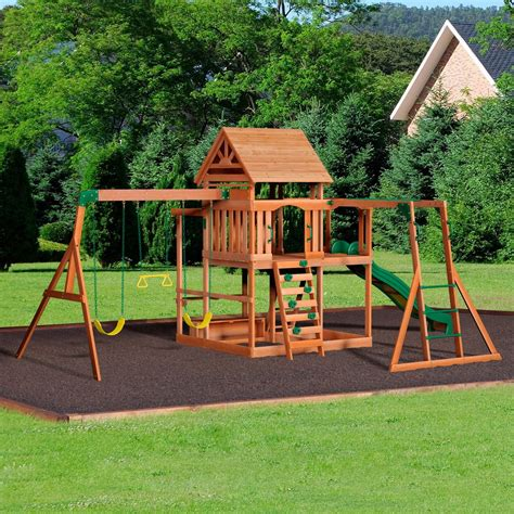 backyard wooden swing set monticello wooden swing set playsets backyard discovery