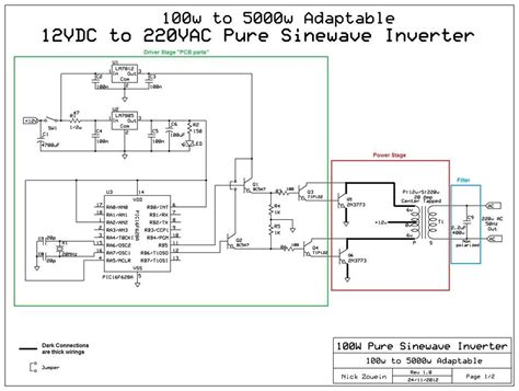 dc to ac power inverter schematic dc wiring diagram and