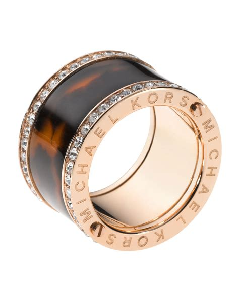 Michael Kors Ring by Michael Kors Pave Tortoise Barrel Ring In Pink Gold