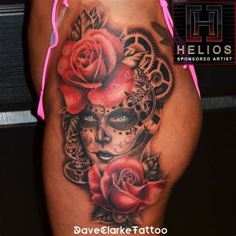 daveclarke sugar skull rose color clock gears