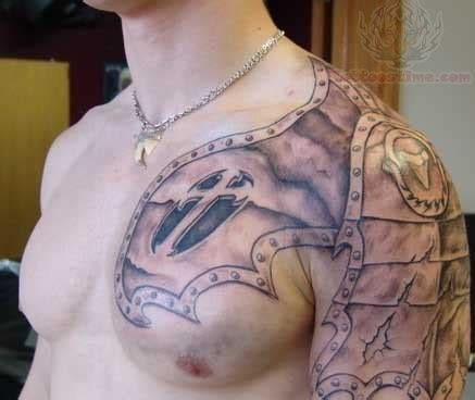 shoulder to chest tattoos viking shoulder armor