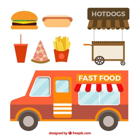 food truck design vector fast food truck in flat design vector free download