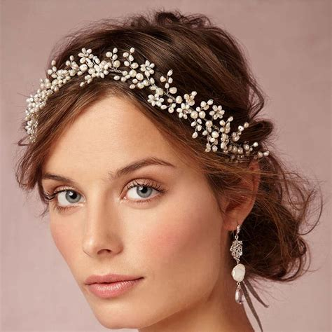 Diskon Hair Bling Hiasan Rambut vintage wax flower crowns bridal tiaras delicate forehead wrap 1920s inspired adornment hair