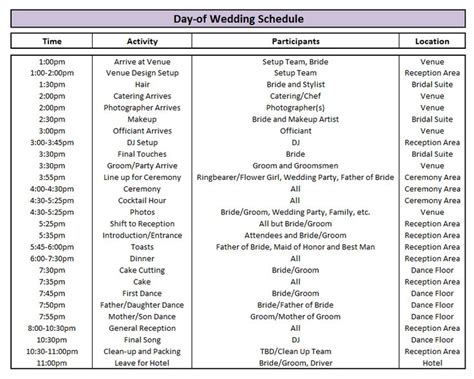calendar itinerary template best 25 wedding timeline template ideas on