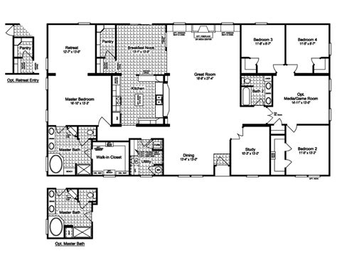 New Mobile Home Floor Plans | luxury new mobile home floor plans design with 4 bedroom
