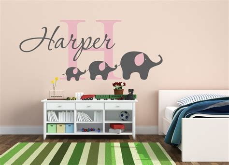 Removable Custom Name Elephant Wall Decal Nursery Baby Elephant Wall Decals Nursery