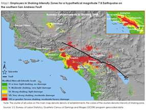 southern california earthquake map labor market risks of a magnitude 7 8 earthquake in