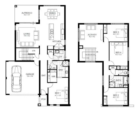 floor plans for house plans 4 bedroom 2 story home plans for entertaining