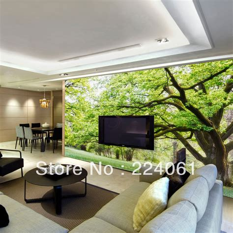 Living Room Wallpaper For Sale Aliexpress Buy Large Three Dimentional Green Forest