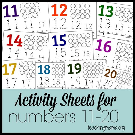 activities for numbers 11 20 math number recognition