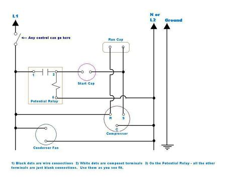 compressor potential relay wiring diagram compressor fan