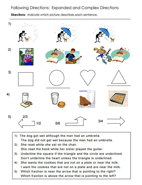 directions activity worksheet multi step directions worksheets worksheets for school toribeedesign