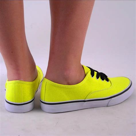 new womens yellow neon deck tennis shoe canvas sneaker ebay