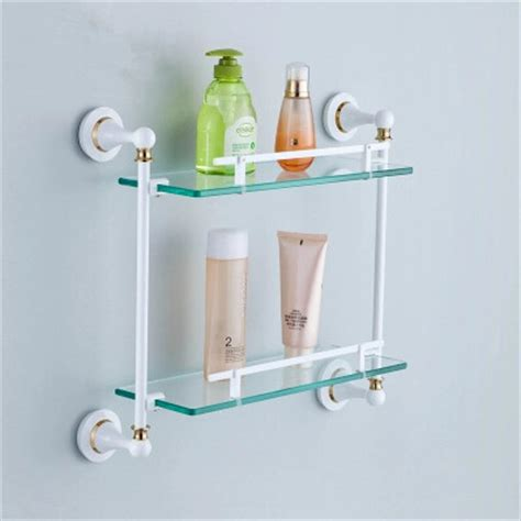 Brass Double Roasted White Porcelain With Tempered Glass Porcelain Bathroom Shelves