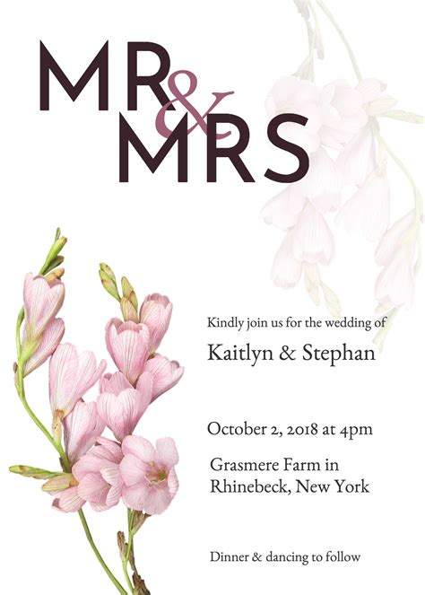 19 Diy Bridal Shower And Wedding Invitation Templates Venngage Wedding Invitation Templates
