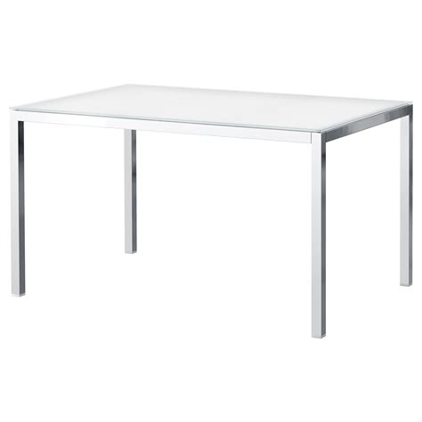 Torsby Table Chrome Plated Glass White 135x85 Cm Ikea
