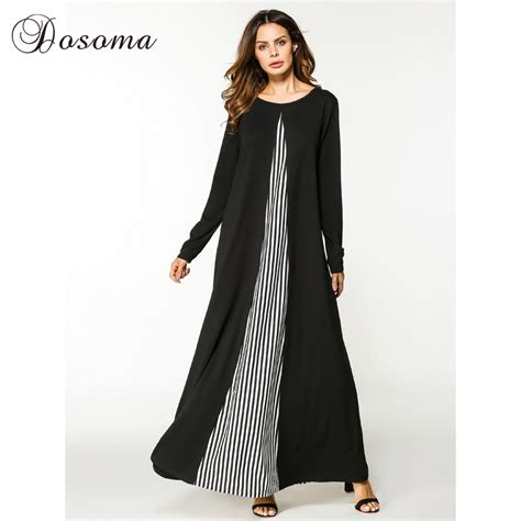 Maxi Trip Dress Busana Muslim casual maxi dress cotton abaya stripe sleeve robe