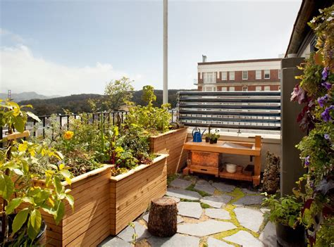 roof deck garden container garden design patio contemporary with view