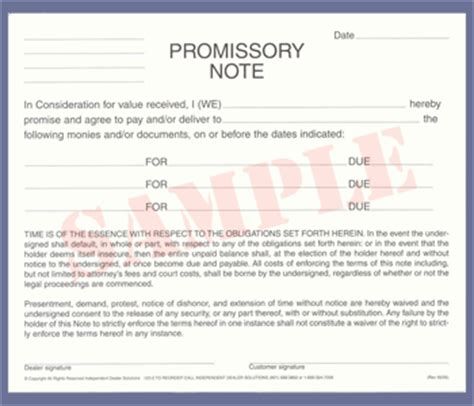 Auto Promissory Note Template promissory note template