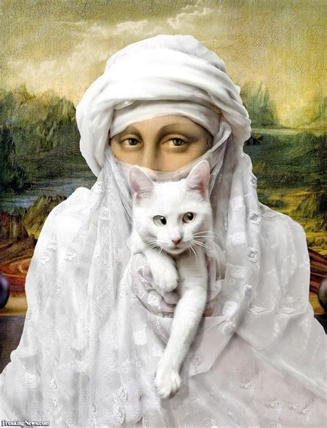 mona cat mona lisa with a white cat pictures freaking news